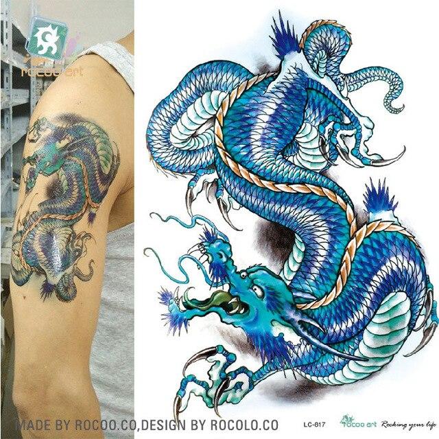 autocollants de tatouage imperméable À l'eau couleur ciel dragon