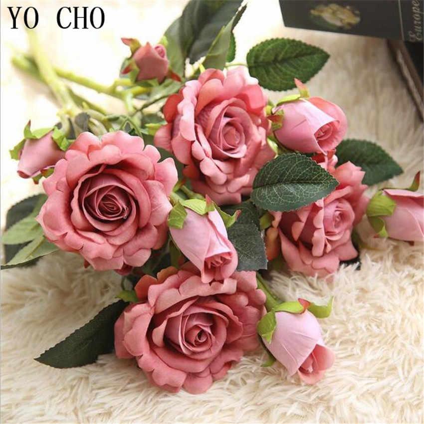 YO CHO 2 cabezas rosas de tacto Real flores de boda Artificial peonía seda terciopelo flor nupcial ramillete de decoración para hogar fiesta Decoracion