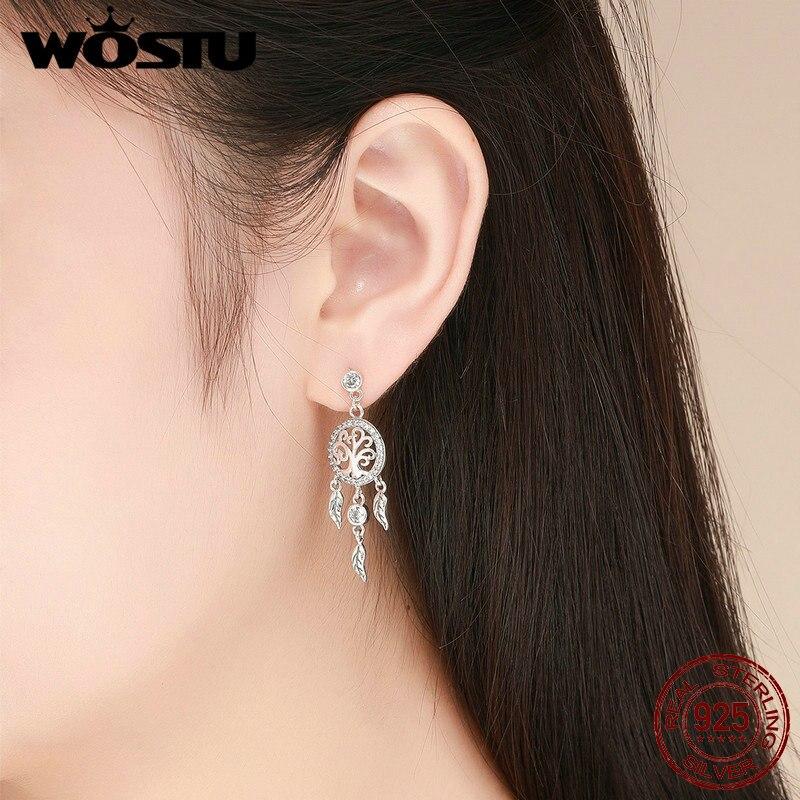 WOSTU High Quality 925 Sterling Silver Dreamcatcher Drop Earrings For Women Female Brand Original Earring Jewelry Gift CQE457