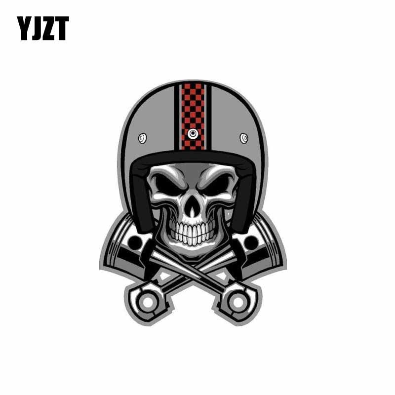 YJZT 9.5CM*12.6CM Creative Cafe Racer Skull Pistons Helmet Car Sticker Decal PVC 6-0088
