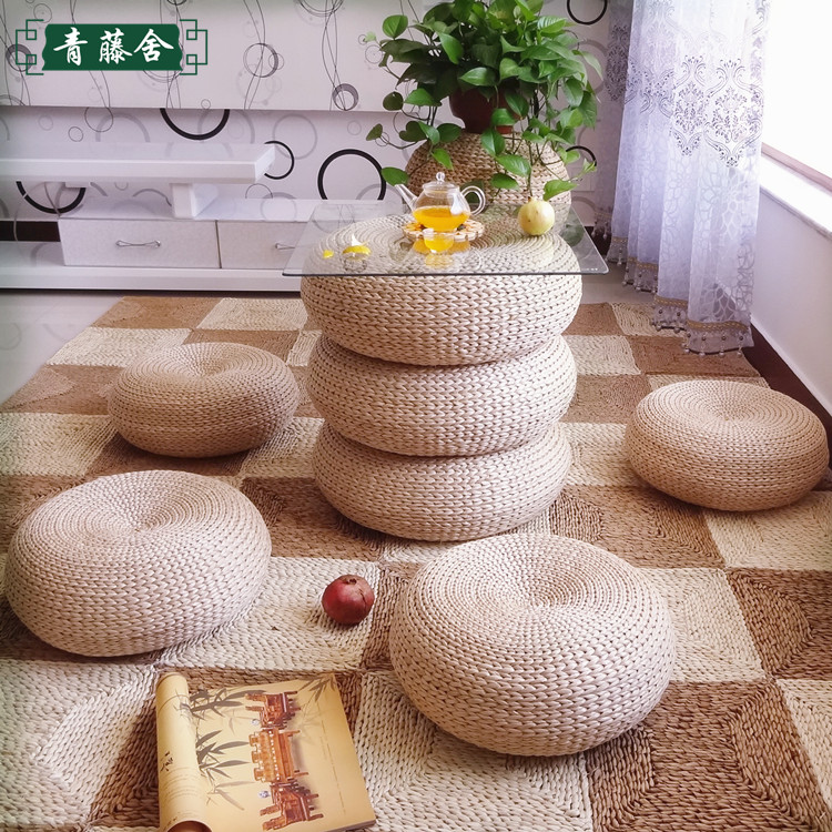 Japanese Style Futon Round Stool Straw Steel Cytoskeleton Handmade Woven Seat Cushions Home decor SC1620 FREE SHIPPING-in Cushion from Home u0026 Garden on ... & Japanese Style Futon Round Stool Straw Steel Cytoskeleton Handmade ... islam-shia.org