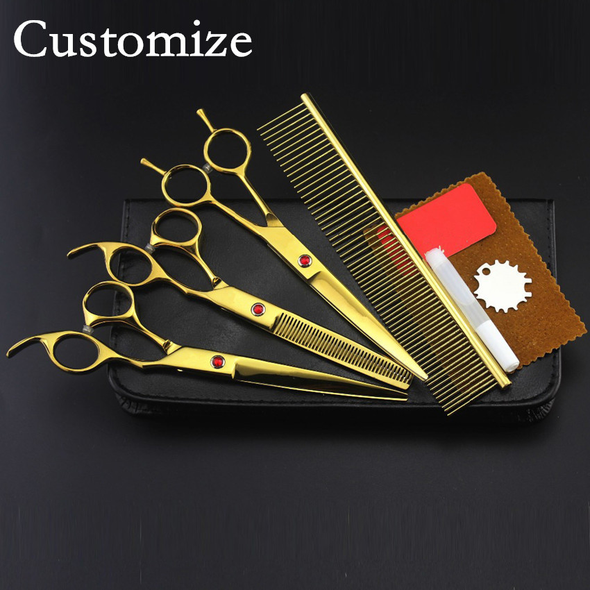 Customize professional 4 kit japanese Pet 8 inch shears hair scissors dog grooming thinning cutting barber hairdressing scissors 4 kit professional 8 inch pink pet grooming shears cutting hair scissors case dog grooming thinning barber hairdressing scissors