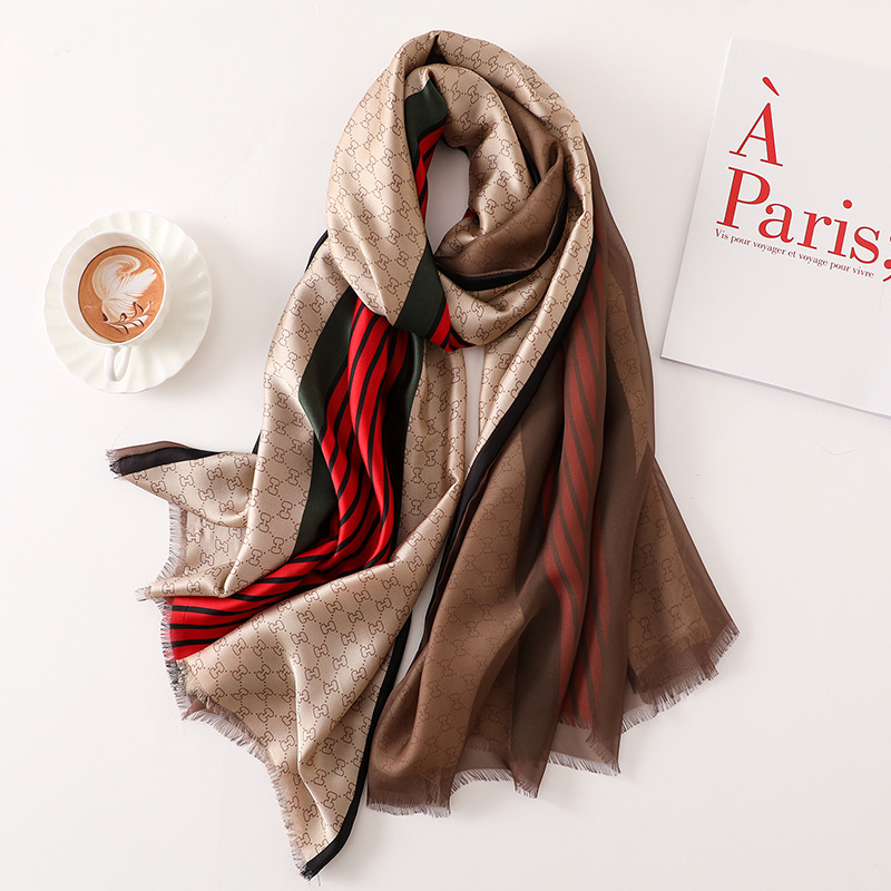 Fashion 2019 new summer women   scarf   quality soft silk   scarves   cover-ups   wraps   luxury brand bandana female shawls Foulard beach