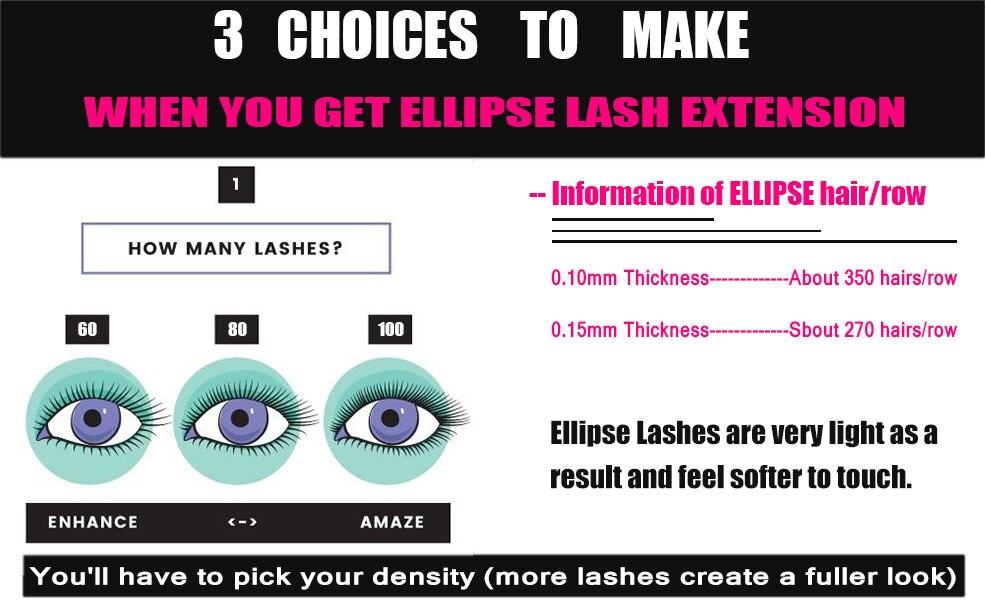 Eyemix New Style Ellipse eyelash extension Salon Club Hot sale Artificial  eyelash Hair PBT Fiber Flat Artificial Eye Lash