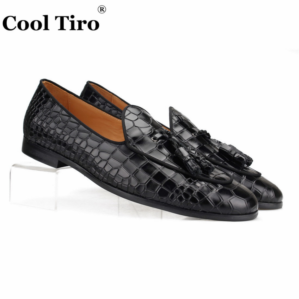US $76.15 36% OFF|Cool Tiro Black Crocodile Pattern Loafers Men Slippers Moccasins Man Flats Wedding Men's Dress Shoes Tassels Casual Shoes Formal in