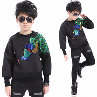 2018 new fashion dance wear kids boys suit stage costume for children space cotton spring black new arrival leisure tracksuit