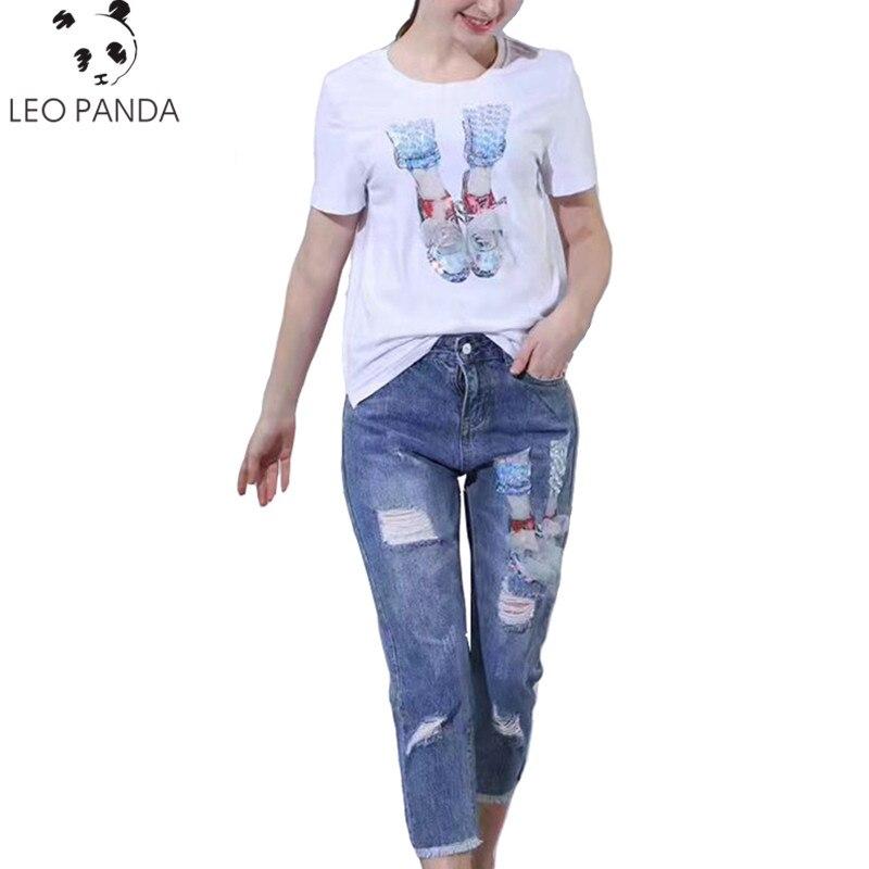 76b88e41940e Summer Casual Women Diamond Floral Print T Shirt Ripped Denim Cropped  Trousers Women Suit Two-piece ...