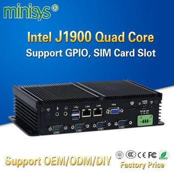 MINISYS компактный мини-ПК Intel J1900 Мини ПК Dual Lan безвентиляторный промышленный компьютеры Поддержка GPIO SIM слот 6 RS232 COM Порты и разъёмы для Windows 7