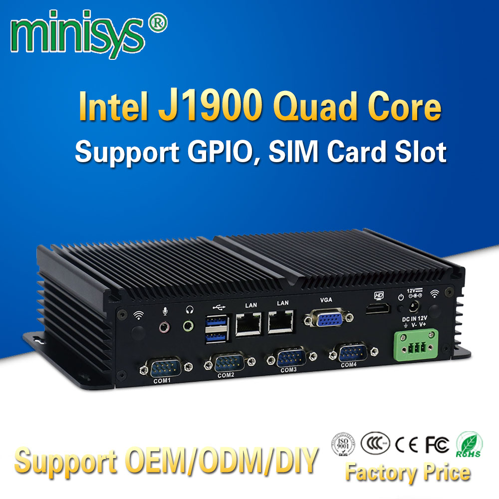 MINISYS Compact Mini PC Intel J1900 Dual Lan Fanless Industrial Computers Support GPIO SIM Slot 6 RS232 COM Port For Windows 7 image