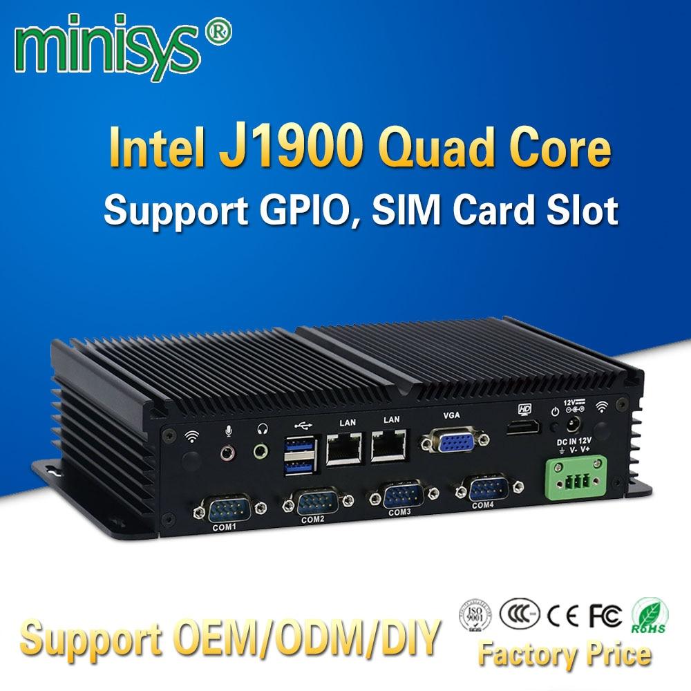 MINISYS Compact Mini PC Intel J1900 Dual Lan Fanless Industrial Computers Support GPIO SIM Slot 6 RS232 COM Port For Windows 7