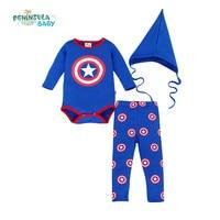 3 adet Bahar Bebek Giysileri Set Bebek Karikatür Kaptan Amerika Uzun Kollu Bodysuits + Pant + Şapka Boy Rompers Giyim Set