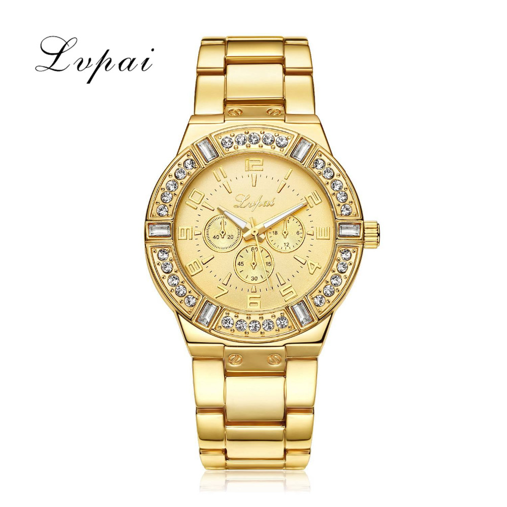 New Lvpai Brand Quartz Watch Women Gold Luxury Steel Dress Wristwatch Business Fashion Casual Clock Fashion Crystal Watch LP004 luxury golden mesh wristwatch new fashion analog quartz watch women steel gold casual watch ladies simple dress clock hours