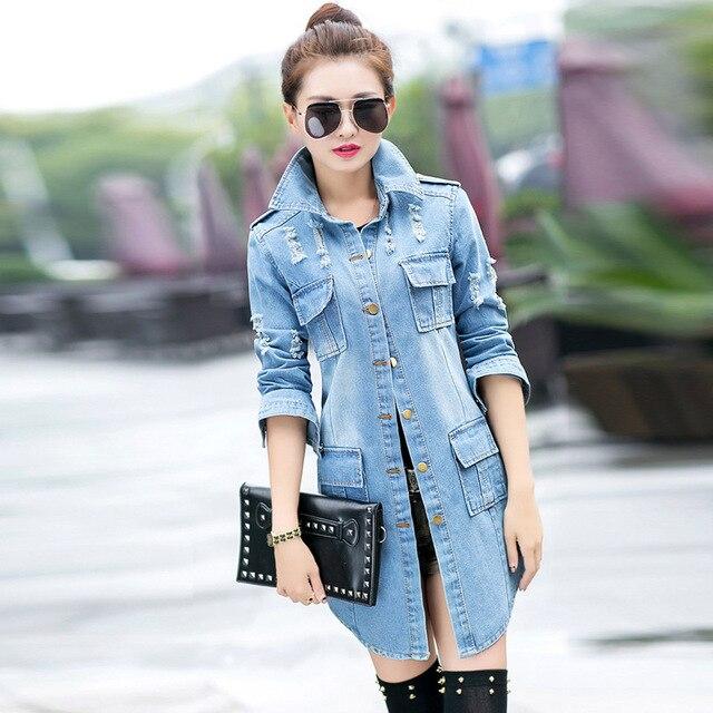 Весна-осень модные женские туфли Жан Тренч потертые стирка джинсовые длинные женские Джинсовая куртка в Корейском стиле Slim Fit ветровка женские пальто
