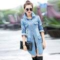 Primavera Otoño Moda Mujeres Trench Coat Jean Frayed Denim Lavado larga Mujer Denim Abrigo de Corea Slim Fit Cazadora Mujer Plus tamaño