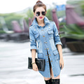 Spring Fall Fashion Women Jean Trench Coat Frayed Wash Denim Long Woman Denim Coat Korean Slim Fit Windbreaker Female  Plus Size