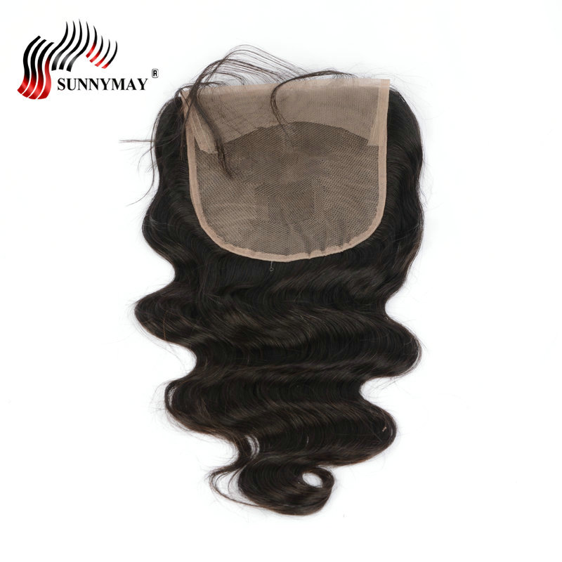 Sunnymay 6x6 Lace Closure Brazilian Virgin Hair Body Wave Skönhet - Mänskligt hår (svart)