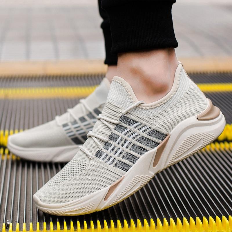 2019 Neue Ankunft Männer Vulkanisierte Schuhe Air Mesh Atmungsaktive Turnschuhe Schuhe Beliebte Stil Trend Freizeit Schuhe Getragen Masculino Sneaker