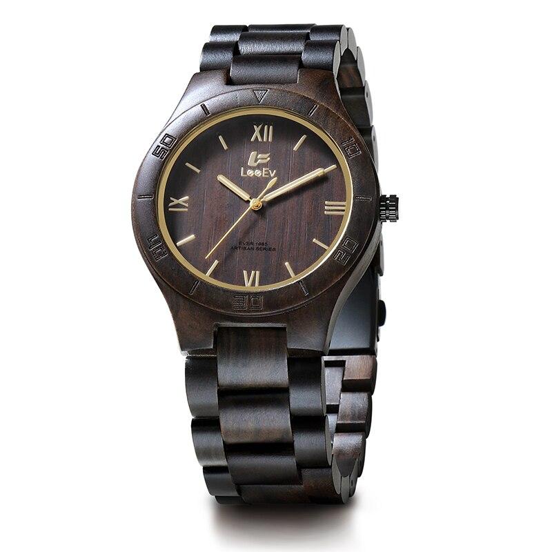 LeeEv EV1985 Mens Handmade Natural Black Sandal Wood Watch Quartz Light Weight Vintage Wooden Wrist Watch