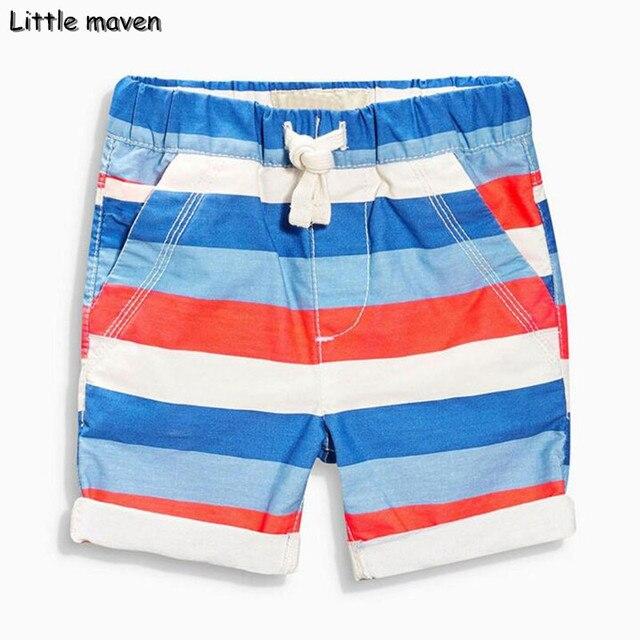 cd33db089e Little maven children's board shorts 2017 Summer new fashion cotton boys  beach casual shorts colorful striped