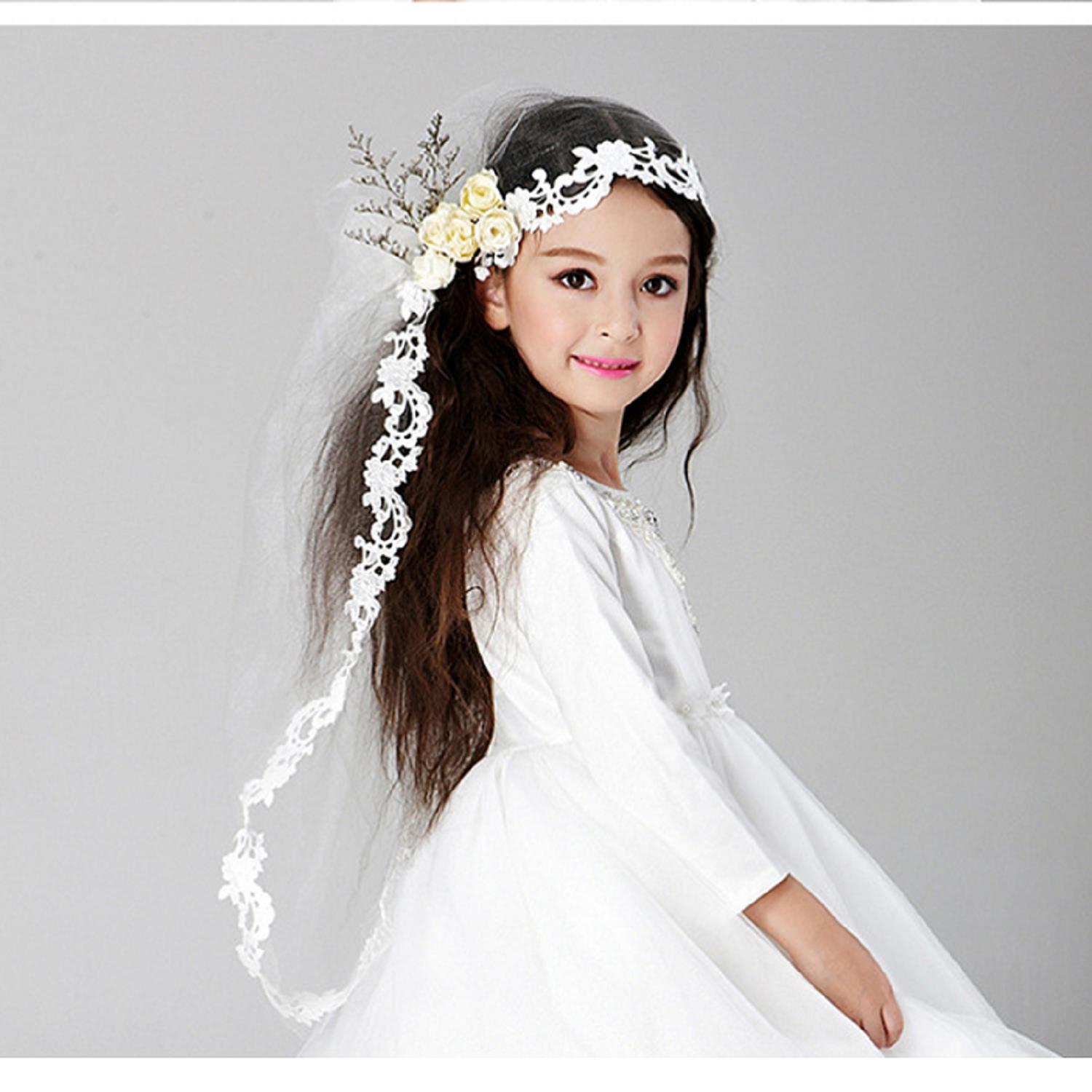 New Arrival White Flower Girl Princess Children Hair Vomb Hairwear Hair Accessories With Long Veil