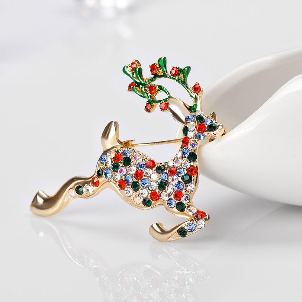 Christmas Elk Brooch Rhinestone Christmas Reindeer Brooch Pin for Scarves Shawl Clip Xmas Ornament Jewellery Gifts