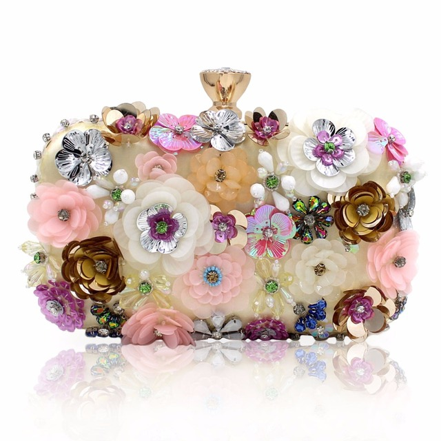 Women's Embroidered Floral Evening Clutch Bag