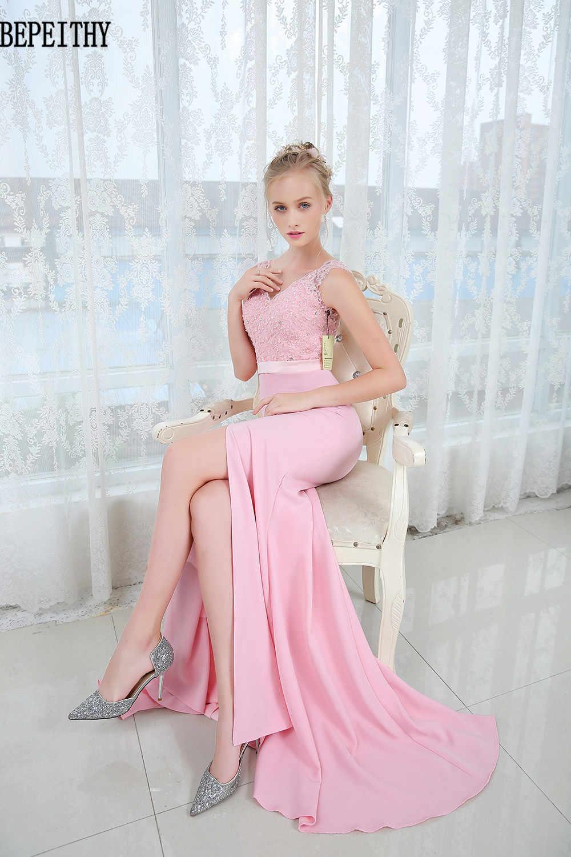Bepeithy Recto De Encaje Vestidos Largos De Graduación 2019 Vestido De Fiesta Longo Sexy De Alta Hendidura Vestido De Noche Elegante Nueva Llegada