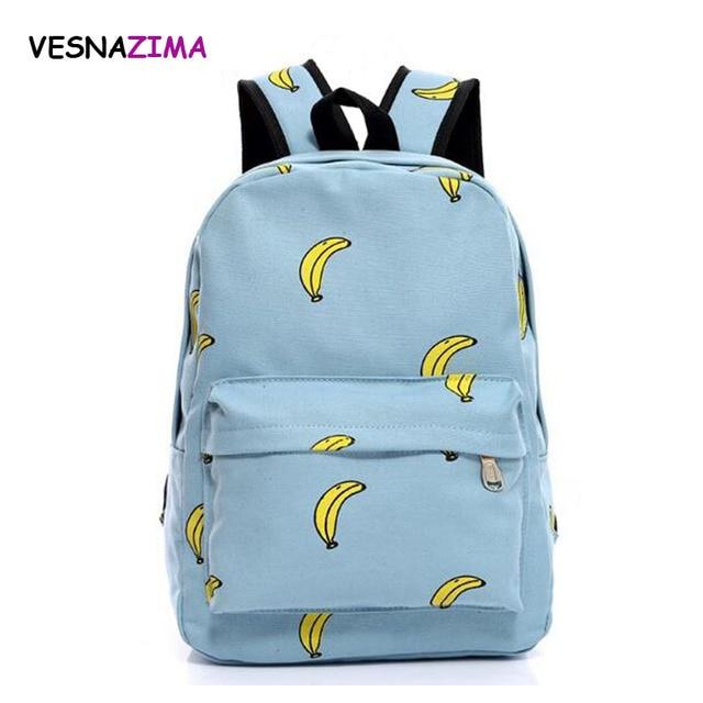 Fruit Printing Backpack Canvas Rucksack Fashion School Bag For ...