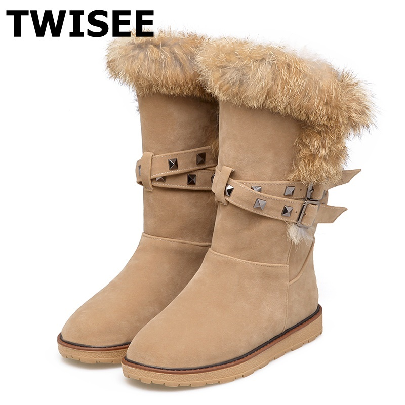 TWISEE Free Shipping Mid-Calf Flock Classic Mujer Botas  Rivet Waterproof Snow Boots black gray apricot Winter Shoes fo women рюкзак case logic 17 3 prevailer black prev217blk mid