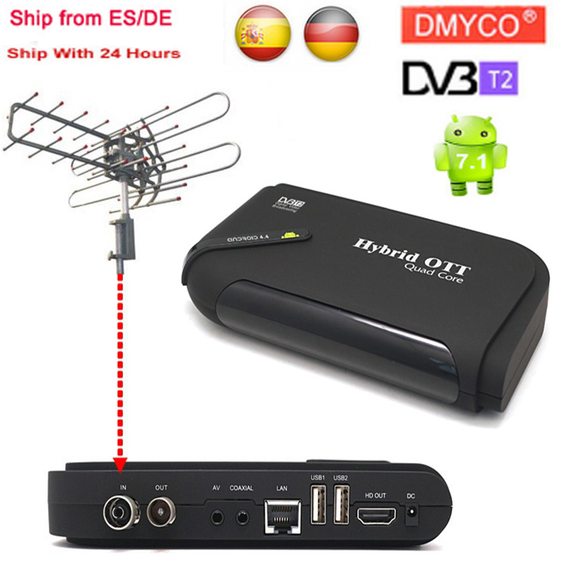 DVB T2&Android Two IN One TV Box Android 7.1 Amlogic S905D 1GB+8GB Smart TV Box DVB T2/T OTT Set Top Box 4K Display from GE ES