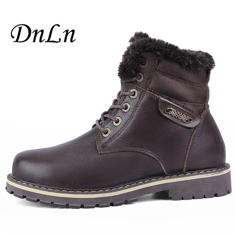 New Arrive Men Boots Super Warm Snow Boots 100% Genuine Leather Boots Plus Size Waterproof Male Winter Shoes D30 new men winter boots plush genuine leather men cowboy waterproof ankle shoes men snow boots warm waterproof rubber men boots