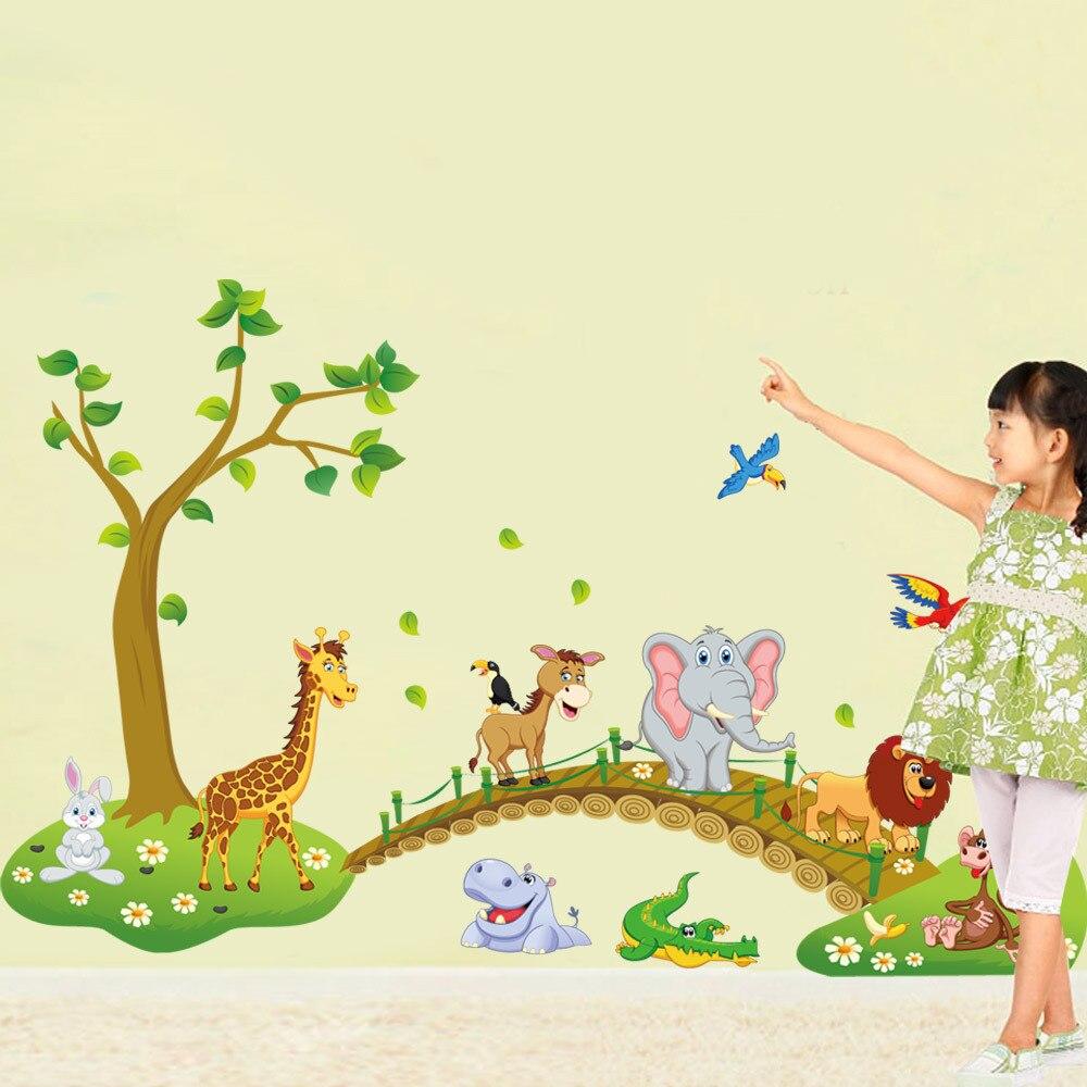 2016 Terbaru Lucu Kartun Hewan Pohon Jembatan Bayi Anak