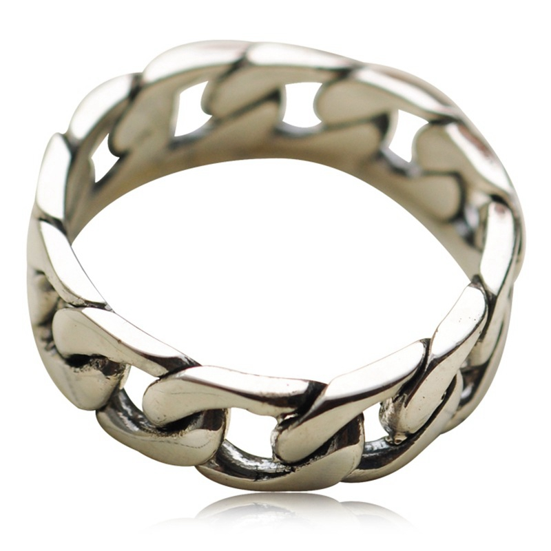 100% Genuine 925 Sterling Silver Retro Men Male Ring Thai Silver Fine Jewelry Gift Chain Finger Ring CH022236