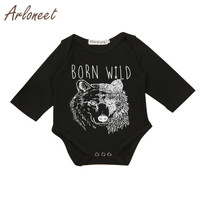 ARLONEET High Quality New Born Infant Baby Boys Long Sleeve Wolf Print Shirt Romper Jumpsuit Clothes