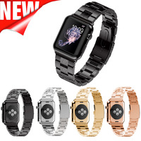 TOP Quality Link Bracelet For Apple Watch Band 42mm 38mm Black Silver Rose Gold Stainless Steel