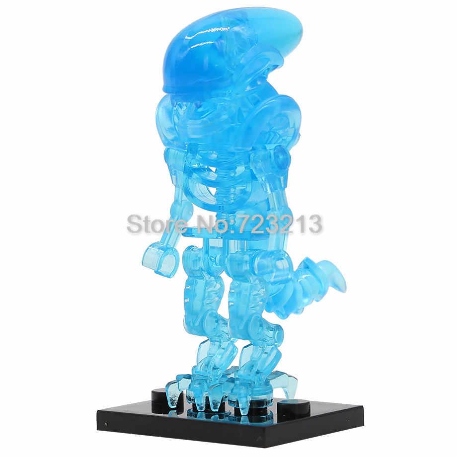 Single Clear บล็อก Alien Legoing รูปสีฟ้าสีเขียว Aliens ชุดรุ่น Clear Building Block ชุดอิฐของเล่นสำหรับเด็ก