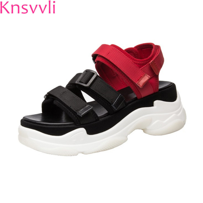 Knsvvli ribbon weaving thick bottom summer shoes women white red mixed color casual sandals woman fashion hook platform shoes beffery summer shoes women genuine leather fashion casual white woman shoes platform thick bottom shoes woman sneakers
