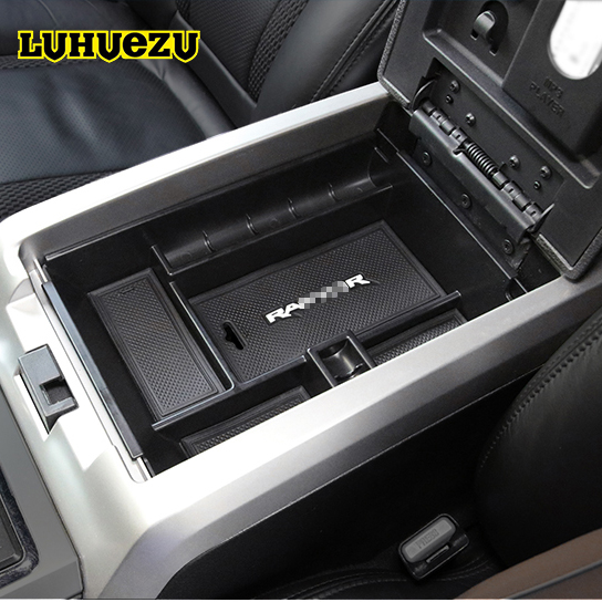 LUHUEZU Car Central Armrest Console Tray Storage Box For Ford F 150 Raptor Accessories 2011 2012