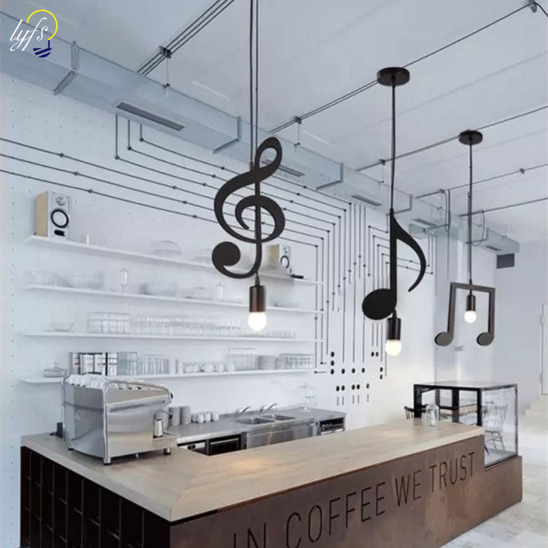 Feiemfeiyou A-Z words Music character E27 Creative Black Led Pendant Lamp for Bar bedroom bookroom Pendant Lighting image