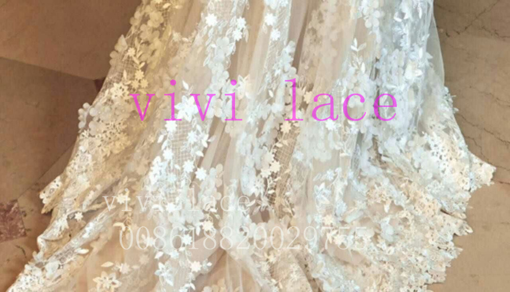5 yards BL006 offwhite chiffon pearls flower french embroidery net tulle  mesh lace for wedding dress 17aa844b22e2