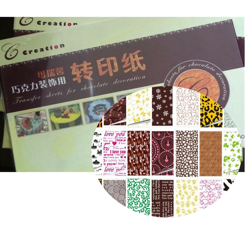 (50pcs/set) Latest 10 Different Colors Handmade Designs Chocolate Transfer Sheet Painting Print Mat for Transfer para Chocolate