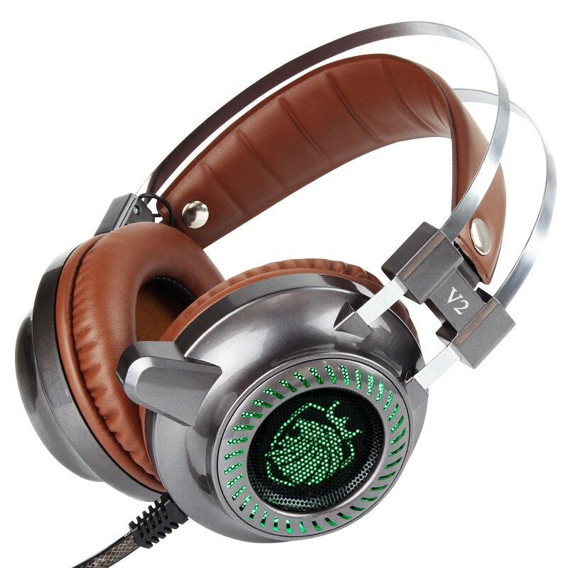 bilder für V2 Über ear Gaming Kopfhörer mit Mikrofon Noise Cancelling Kopfhörer LED Licht Stereo Surround Gaming Headset PK xiberia V6