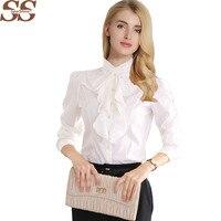 New Arrival Chiffon Ruffles Lady White Shirts Long Sleeve Shirt Formal Work Blouse Plus Size S