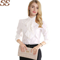 New Arrival Chiffon Ruffles Lady White Shirts Long Sleeve Shirt Formal Work Blouse Plus Size S