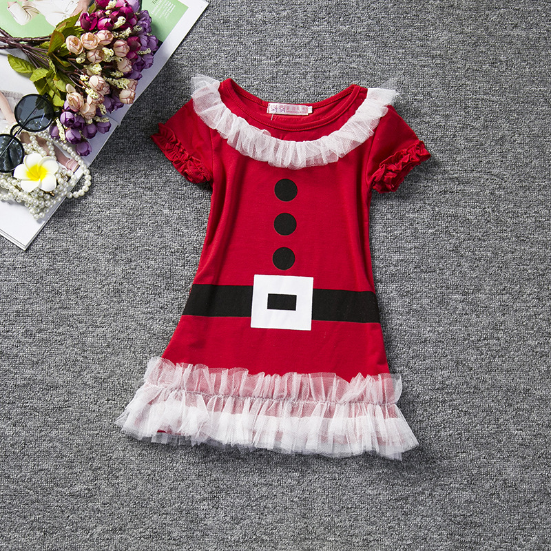 christmas Newborn Toddler Kids Baby Girl short Sleeve Santa Claus Princess Girls Party Dress Winter Clothes