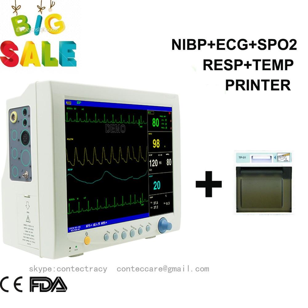 ICU Patient Monitor 6parameter Vital Sign ECG NIBP RESP TEMP SPO2 Pr,+Printer,FDA thermal printer free 1 printer paper for contec multi parameter patient monitor
