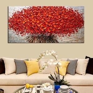 Текстурированная палитра артрyx, Масляные картины на холсте, ручная роспись, современные абстрактные 3D красные цветы, настенные декоративны...