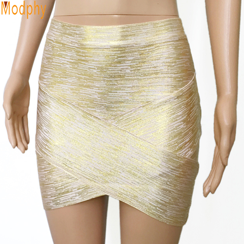 2017 Women Sexy Gold Silver Foil Celebrity Bandage Skirts Rayon Good Stretch Mini Slim Tight Pencil Club Party Drop Ship HL455