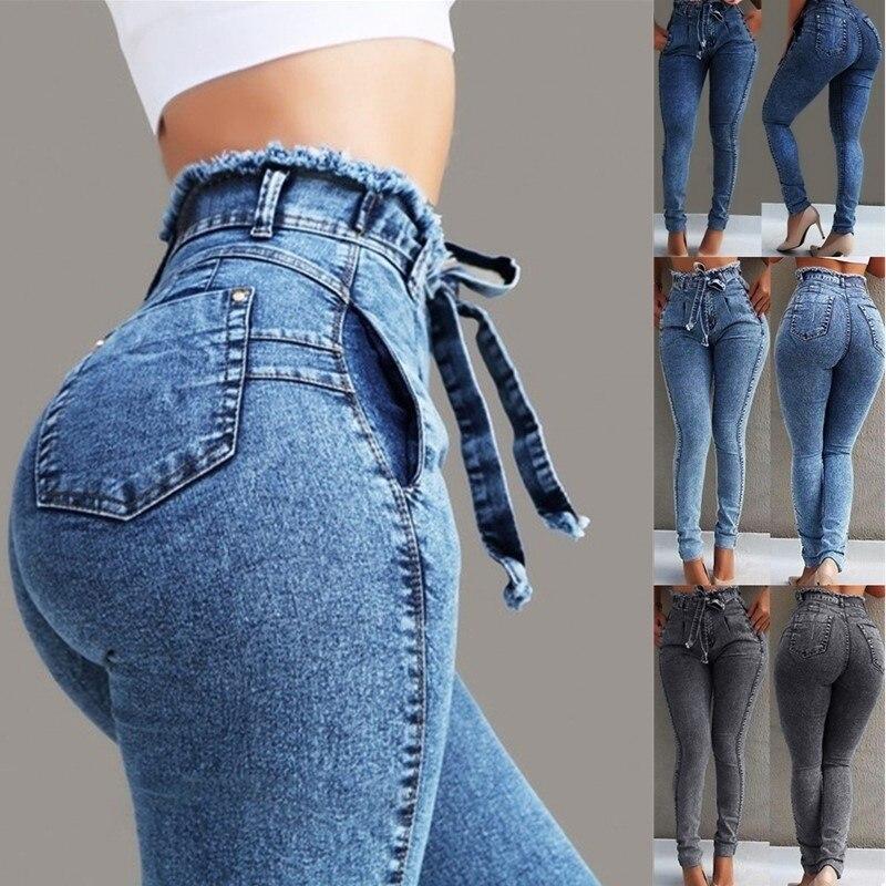 Женские джинсы, женские джинсы с высокой талией, Стрейчевые женские узкие брюки, узкие брюки, популярные джинсы, повседневные женские брюки с поясом, женские джинсы|Джинсы|   | АлиЭкспресс