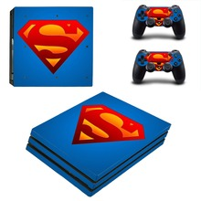 Vinyl Decal PS4 PRO Skin Sticker Super Man Stickers Kit for Sony Playstation 4 PRO Console and 2 Controller